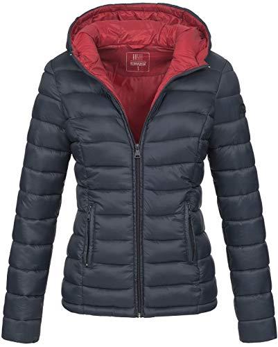 Marikoo Damen Jacke Steppjacke Herbst Winter Übergangsjacke gesteppt B651 [B651-Luc-Navy-Gr.XL]