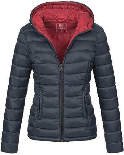 Marikoo Damen Jacke Steppjacke Herbst Winter Übergangsjacke gesteppt B651 [B651-Luc-Navy-Gr.M]