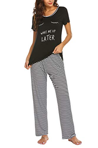 Balancora Damen Schlafanzug Kurz Sommer Pyjama Nachtwäsche Hausanzug Kurzarm Sleepwear Schwarz M