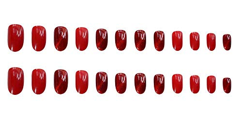 CLOAAE Round red cat's eye fake nails 24 French cute ladies full mouth nail tips bride ladies full mouth nail tips