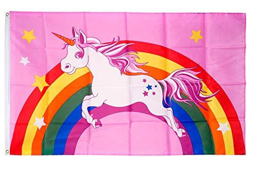 Flaggenfritze® Flagge/Fahne Einhorn rosa mit Regenbogen - 90 x 150 cm