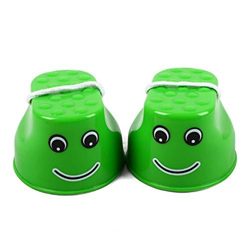 Wudi Sprungstelze von Stelzen Steppers Toy Balance of Kindergarten zu fördern und Feinmotorik für Babyspielzeug (Grüner Kindergarten Kinder Gleichgewicht Trainer Smiley)