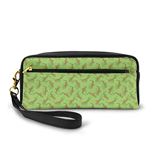 Pencil Case Pen Bag Pouch Stationary,Hand Drawn Style Saxophone Instruments on Green Background Orchestra,Small Makeup Bag Coin Purse