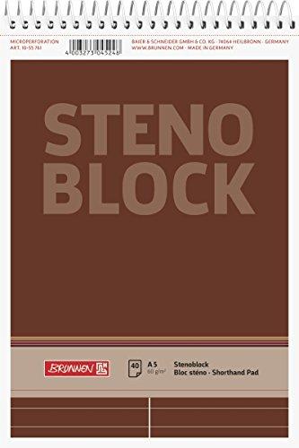 Brunnen 1055761 Stenoblock / Spiralblock / Notizblock (A5, liniert mit roter Mittellinie, 40 Blatt, 60g/m²)