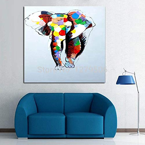 wZUN Pintura de la Lona Arte Abstracto Pintura al óleo Elefante bebé Hermosa Pintura Animal 60x60 Sin Marco