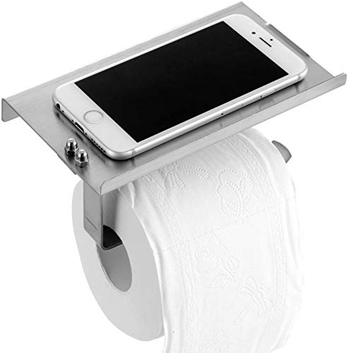 Toilet Paper Holder, SUS304 Stainless Steel Toilet Paper Holder with Phone Shelf for Mobile Phone, Wall Mounted Bathroom Tissue Holder for Smartphone