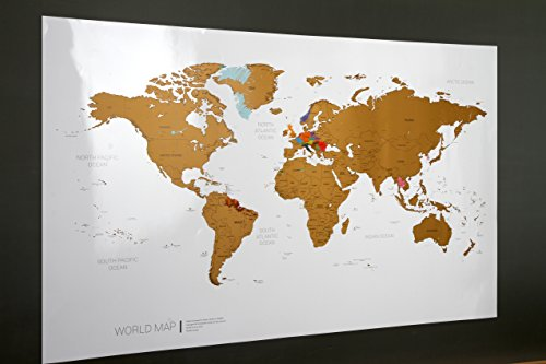 Around the world Personalized Scratch-off World Map - 38.1 X 23.6 inches Scratch-off World Map (Gold)