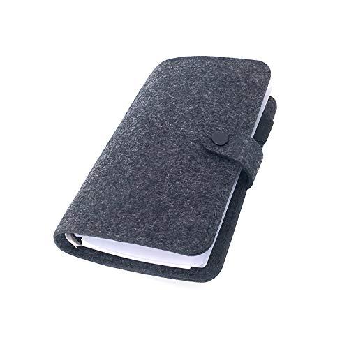手帳 バインダー紐 システム カバー6穴 フェルト マテリアルシステムハンドブックビジネス学生6リングA5 A6ペンカード入れ, Black 6, A6 combo