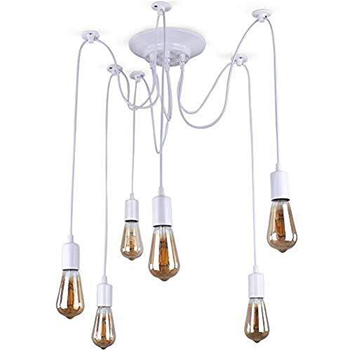 hsj WYQ - Lámpara de araña retro blanca 6 luces loft industrial loft montaje empotrado techo luz colgante durable