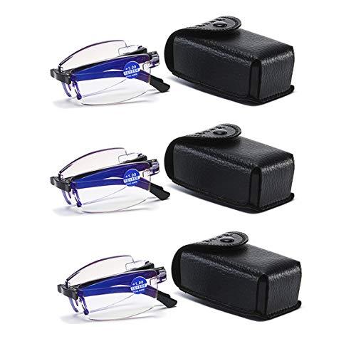 3 Paar Lesebrille +200 Blaue Licht Blockieren Brille Anti-Augen-Müdigkeit Zusammenklappbar Herren Frauen Lesebrillen mit Ledertasche