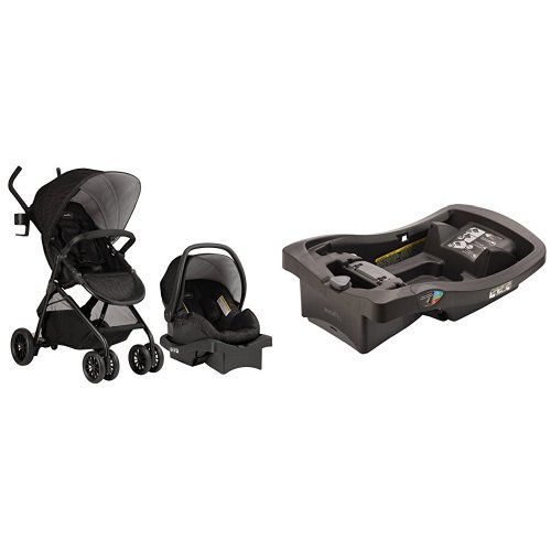 Evenflo Sibby Travel System, Charcoal with LiteMax Infant Car Seat Base, Black