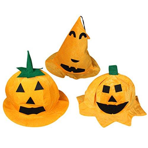 Leisial™ 3pcs Sombrero de Halloween Tela Gorra de Calabaza Decoración de Halloween Halloween Disfraz Viste a Accesorios para Niños Adultos