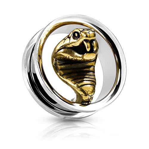 BlackAmazement 316L Edelstahl Flesh Tunnel Ohr Plug Ohrring Piercing Kobra Schlange Silber Gold Damen Herren (14mm - 1 Stück)