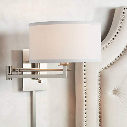 Aluno Modern Swing Arm Wall Lamp Brushed Nickel Plug-in Light...