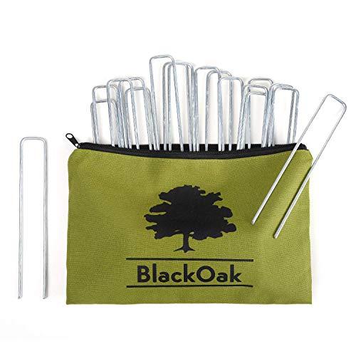 BlackOak - Profi Erdanker aus Anti-Rost Stahl mit Aufbewahrungstasche - EIN EXTRA Starker Hering - Ideal für Garten und Camping 200mm lang,33mm breit, und unglaubliche 4mm STARK