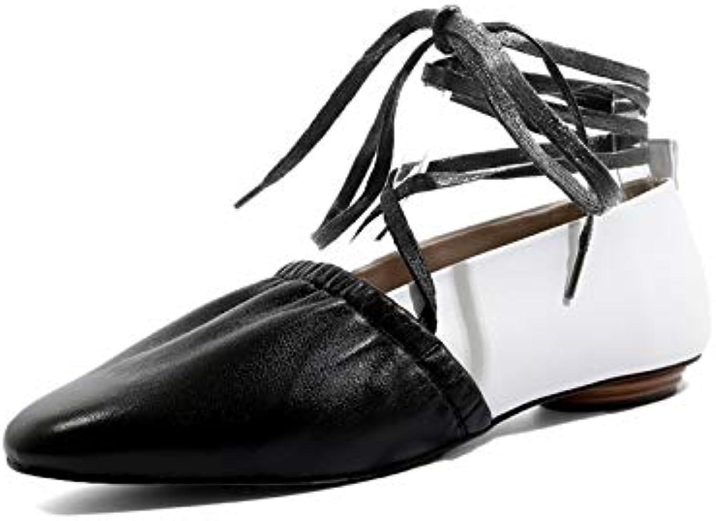 MENGLTX High Heels Sandalen 2019 Hochwertige Echtes Leder Schuhe Frauen Schnüren Einzigartige Handgefertigte Einzelne Schuhe Frauen Ballett Flache Schuhe Sommer B07QLW4RTG  Trendy