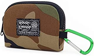 Rough Enough Small Mini Minimalist Mens Wallet Credit Card Holder Coin Purse Change Zipper Pouch Cash Bag Organizer Earbuds Case with Keychain Ring for Business Women Boys Girls Travel School Party
