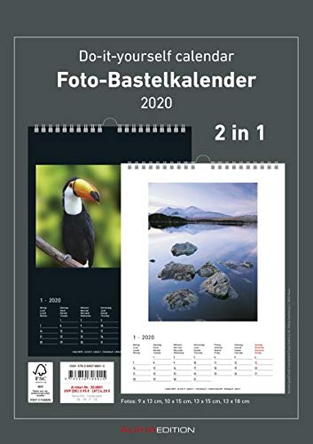 Foto-Bastelkalender 2020 - 2 in 1: schwarz und weiss - Bastelkalender - Do it yourself calendar A4 - datiert - Fotokalender