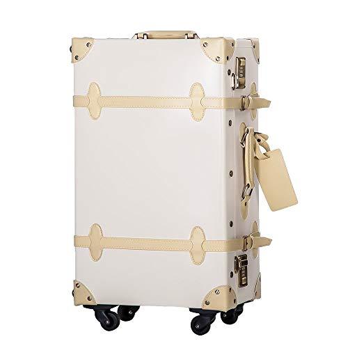 TANOBI トランクケース スーツケース キャリーバッグ SSサイズ機内持ち込み可 復古主義 おしゃれ 可愛い 13色4サイズ (アイボリー, SSサイズ(機内持ち込み可))