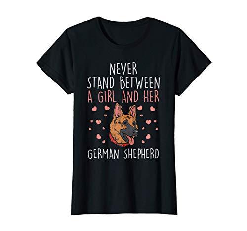 ネバースタンドガール ジャーマンシェパード犬 恋人 飼い主 女性 ギフト Tシャツ