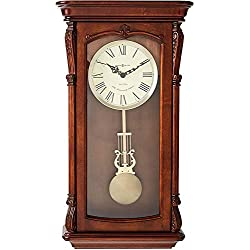 Howard Miller Henderson Wall Clock 625-378 – Hampton Cherry with Quartz, Dual-Chime Movement