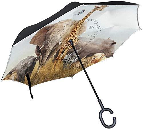 Regenschirm mit afrikanischem Safari-Tiermotiv, mit C-förmigem Griff für Autos, Damen, Herren