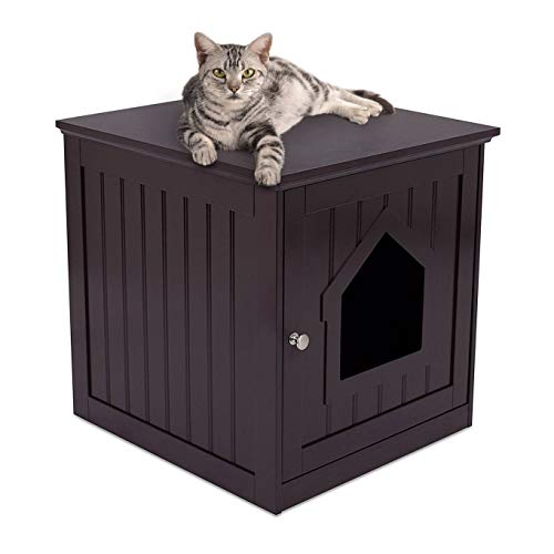 Decorative Cat House Side Table | Home Nightstand Indoor Pet Crate Litter Box Enclosure (Espresso) Brown Wood