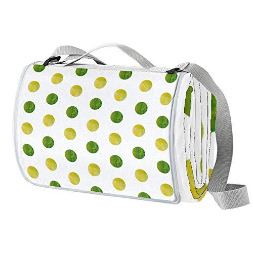 Vito546rton Impermeable portátil al aire libre verde amarillo acuarela lunares impresión picnic manta Mat con correa para acampar senderismo hierba viajes 57x59in