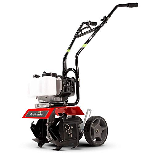 Earthquake 31635 MC33 Mini Tiller Cultivator, Powerful 33cc 2-Cycle Viper Engine, Gear Drive Transmission, Height Adjustable Wheels, 5 Year Warranty