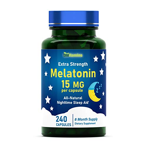 Melatonin 15 MG Per Capsule | 240 Capsules | Nighttime Sleep Aid | Extra Strength Sleeping Pills for Adults | Natural Sleep Support Supplement | by TNVitamins