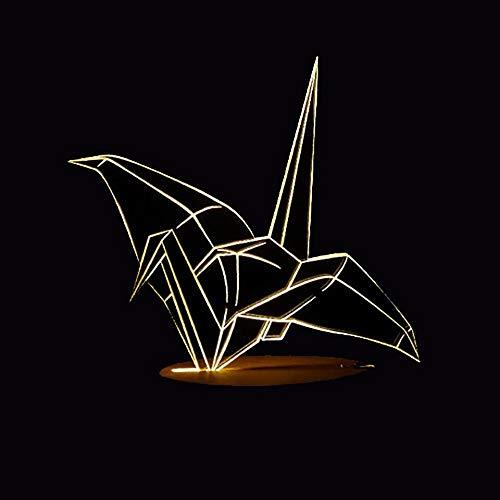 LLZGPZXYD 7 kleuren wisselende LED kantoor nachtlampje decoratie 3D papier kraan modelbouw tafellamp sfeer touch woonkamer verlichting geschenken Remote And Touch