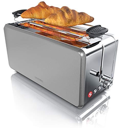 Arendo - Toaster Langschlitz 4 Scheiben - wärmeisolierendes Gehäuse - mit Brötchenaufsatz - 1500W - Defrost Funktion - herausziehbare Krümelschublade - automatische Abschaltung - Edelstahl silber grau