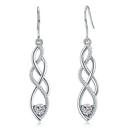 Orecchini pendenti in argento sterling 925, buona fortuna nodo celtico irlandese orecchini pendenti lineari con zircone lucido orecchini ipoallergenici moda gancio per gioielli gioielli per le donne