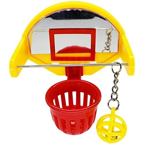 Ruluti Funny Parrot Birds Toys Mini Basketball Hoop Props Parakeet Bell Ball Chew Toy Pet Supplies