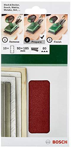 Bosch Schleifblatt (für Schwingschleifer verschiedene Materialien, 10 Stück, 93 x 185 mm, Körnung 80)