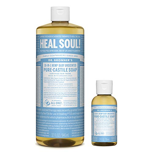 Dr. Bronner's - Pure-Castile Liquid Soap (32 ounce and 2 ounce Bundle) - Made with Organic Oils, 18-in-1 Uses: Face, Body, Hair, Laundry, Pets and Dishes, Concentrated, Vegan, Non-GMO (Baby Unscented)