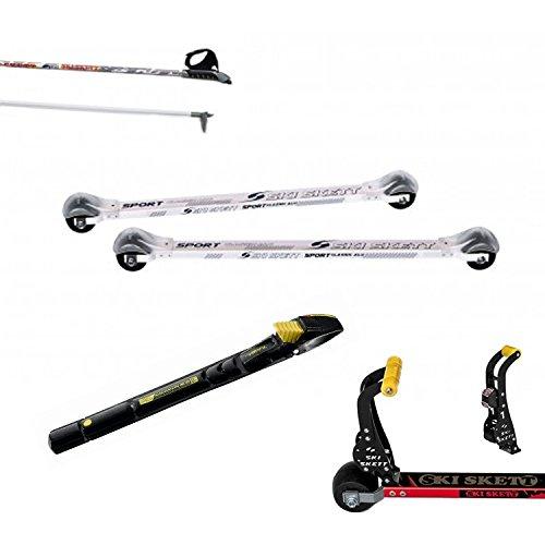 Ski Skett Série Ski Roue, Ski Roue Sport Classic ALU avec Le Frein Stop&GO, Fixations Salomon Profil CL, bâtons pour Ski Roue Long. 165 cm.