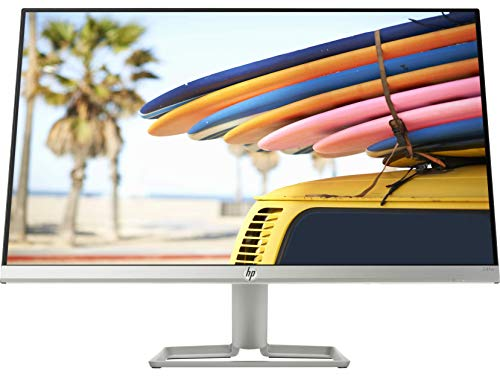 HP 24 Inch Ultra-Slim Full Hd Computer Monitor -AMD Freesync, Built-in Speakers, IPS Panel with Hdmi and Vga Ports - HP 24Fw Display with Audio - 4Tb30Aa (Silver)