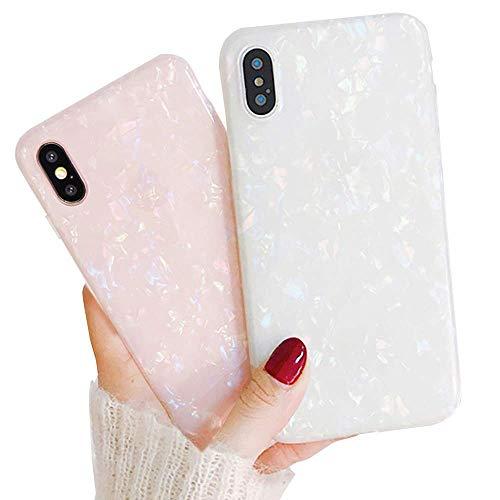 LCHULLE 2 Stücke Hülle für iPhone Xr Handyhülle Hülle Muschel Marmormuster Hülle Weiche TPU Schutzhülle Ultradünne Handytasche Pink & Multicolor