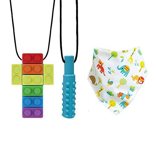 Collana da Masticare Sensoriale,Collana per Dentizione,Bambino Drool Bavaglini,per Masticatori Moderati e Aggressivi con Autismo, ADHD, Dentizione Motoria Orale e Bisogni di Mordere (3 pezzi)