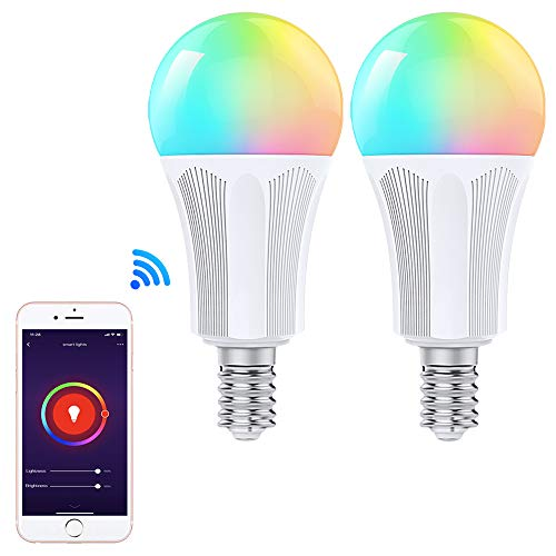Orbecco WLAN Smart LED Lampe, E14 9W Mehrfarbige RGB Licht Dimmbar Glühbirne, APP-Fernbedienung, Sprachsteuerung, Kompatibel mit Alexa Echo Google Home, ohne Hub Benötig -2 Pack