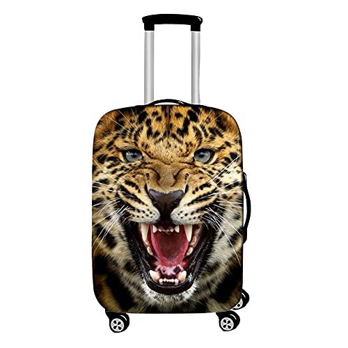 Surwin 3D Cubierta de Equipaje Protectora Suave Elástico Anti-Polvo Lavable Funda de Maleta Luggage Cover con Cremallera Viaje Cubierta de la Caja (Leopardo Amarillo,XL (30-32 Pulgadas))