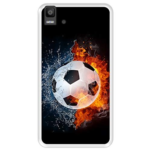 Hapdey Funda Transparente para [ Bq Aquaris E5s - E5 4G ] diseño [ Fuego y Agua, balón de Futbol ] Carcasa Silicona Flexible TPU