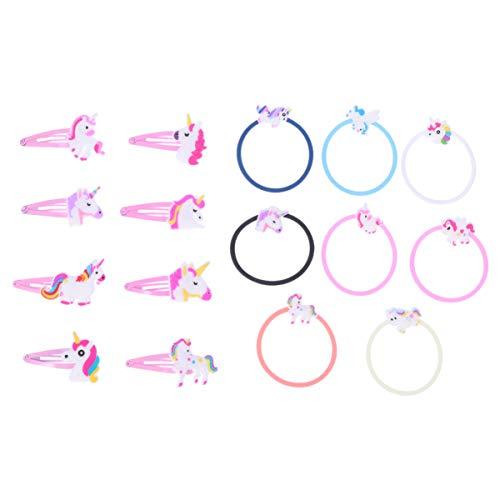 Lurrose 16 Stück Einhorn Haarspangen Haarnadeln Einhorn Armband Haargummis Pferdeschwanz Halter Haarschmuck für Mädchen Frauen Größe M