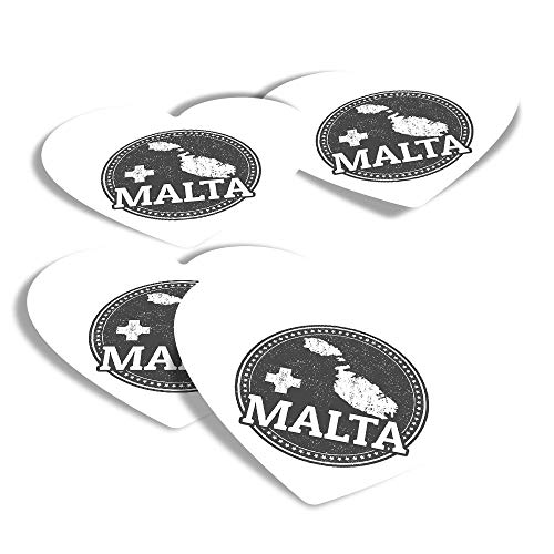 Vinyl Heart Stickers (Set of 4) - BW - Malta Maltese Flag Map Travel Fun Decals for Laptops,Tablets,Luggage,Scrap Booking,Fridges #39848