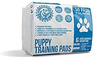 Bulldogology Premium Puppy Pee Pads with Adhesive Sticky Tape (24x24) Large Dog Training Wee Pads with 6 Layer Extra Quick Dry Bullsorbent Polymer Tech - Great for Puppy Housebreaking and Adult Pets