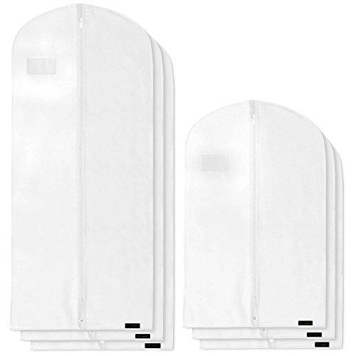 Hangerworld 6 Fundas para Ropa de 102cm y 150cm Porta Traje y Vestido Transpirable Blanco Anti-Polvo