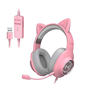 HECATE G2 II Pink Cat Ear Gaming Headset USB Headphones with Mic, RGB Lighting for PC, PS4, PS5 with THX 7.1 Surround Sound, 50mm Drivers -Pink