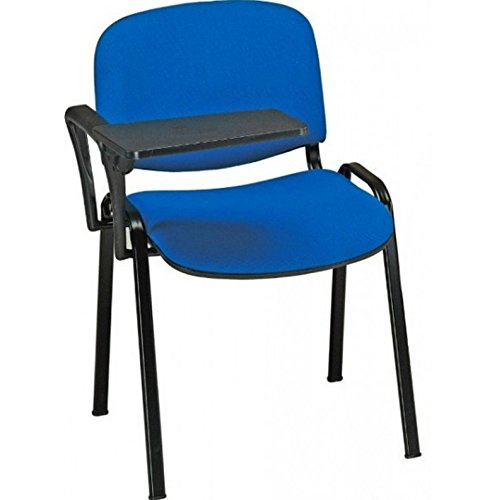 20 Sedie in tessuto con scrittoio ribaltina tavoletta per sala corsi convegni riunioni (Blu)