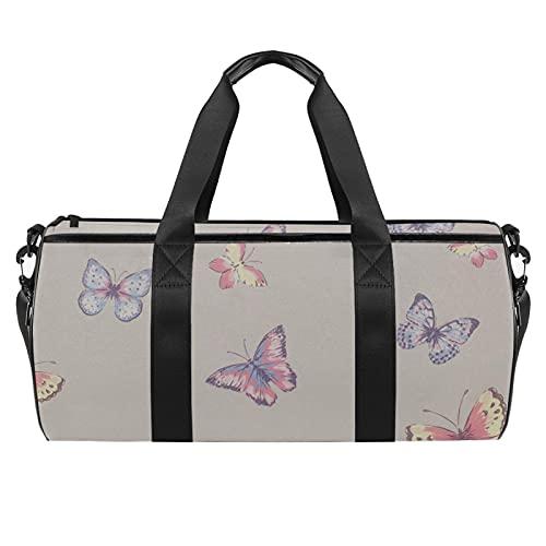 Borsa da viaggio grande borsa sportiva borsa a tracolla weekender borsa per donna e uomo Sanderson-Summer-peony, Farfalle colorate., 45x23x23cm/17.7x9x9in,